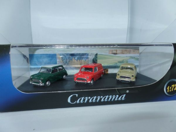 Cararama 713PND 1/72 Classic 3 Pc Mini Set Green Saloon Red Van Beige Pick-up